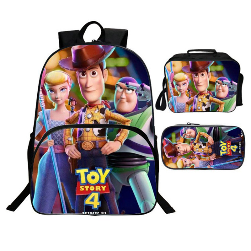Toy-Story Backpacks Figure-Toys Pencil-Bag Alien Anime Girl School 4-Forky Gift Boy 3pcs