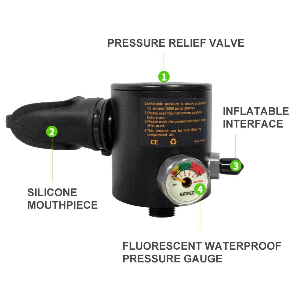 SMACO Mini plongée sous-marine réservoir d'oxygène cylindre équipement de rechange air plongée tuba régulateur respirateur S300 sous-marin 5-10 min - 4