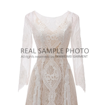Factory Price 100 % Real Sample Photo Long Sleeve Backless O-Neck Lace Boho Bohemian  Beach Wedding Dress Bridal Gown 6
