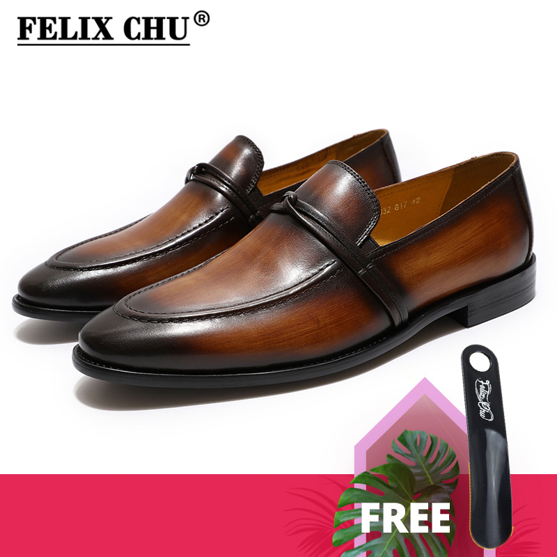 FELIX CHU Genuine Leather Mens Loafers Shoes Hand Painted Men's Casual Mocassin Wedding Formal Shoes Party Dress Shoes For Men