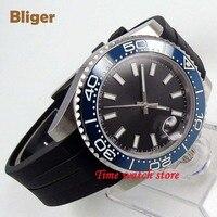 40mm bliger miyota 8215 relógio automático masculino vidro de safira à prova dwaterproof água mostrador preto aço luminoso azul cerâmica moldura