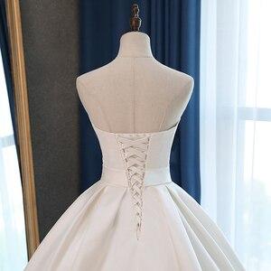Image 5 - Fansmile saten Vestido de Noiva zarif balo elbisesi düğün elbisesi 2020 uzun tren gelin balo elbisesi artı boyutu özelleştirilmiş FSM 072T