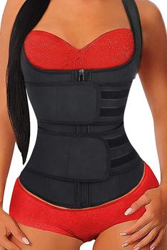Black Neoprene Underbust Sport Girdle Waist Trainer Women Corsets & Bustiers with Zipper Up Fashion Tops Plus SIze S-3XL