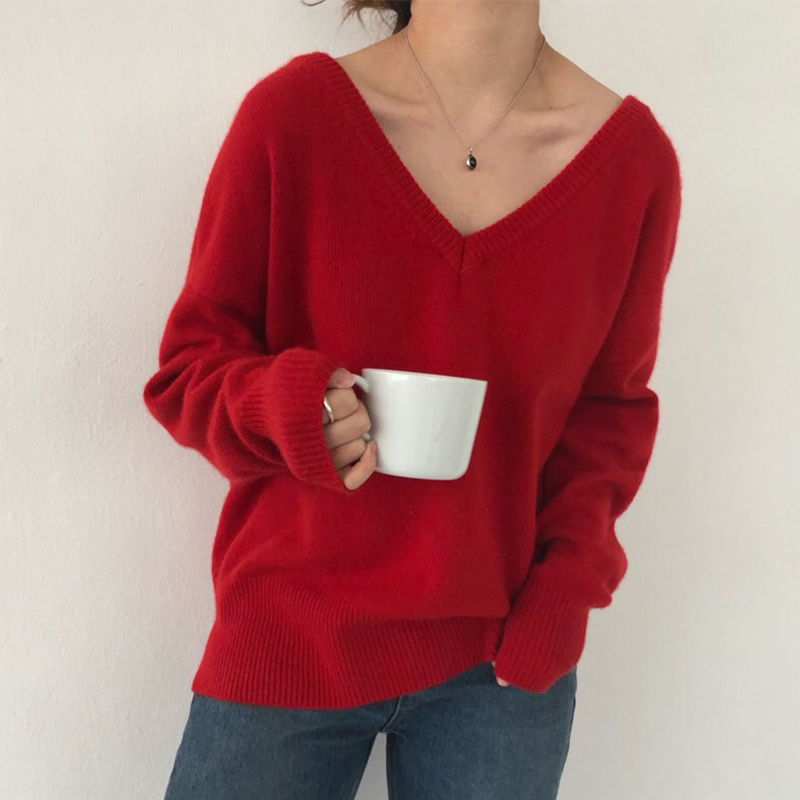 Autumn Winter Knitted Women's Sweater New Loose Casual Fashion Tops Korean Style Knitting Ladies V-neck Sweaters