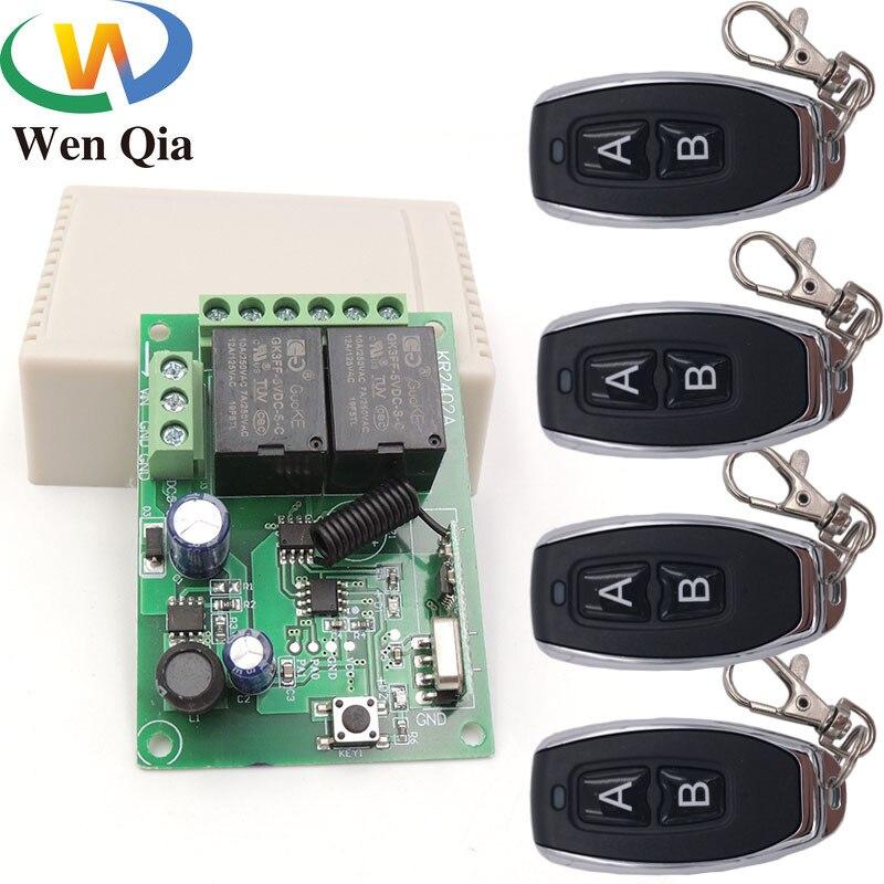 433mhz controle remoto sem fio universal dc6v 12v 24v 2ch rf relé e transmissor remoto garagem/portão/motor/luz/eletrodomésticos