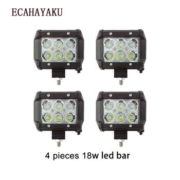 ECAHAYAKU, barra de luces LED 4x18w, foco de luz Led de 4 pulgadas, haz de luz antiniebla 12v 24v para vehículos todo terreno, remolque de coches y camiones, lámpara de conducción 4X4