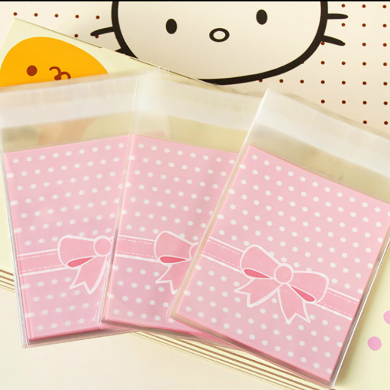 100PCS Bow Ziplock Gift Bag Cookie For Sweets Party Goodie Bags Packing Favor Cake Bonbonniere Packaging Candy Present Wedding