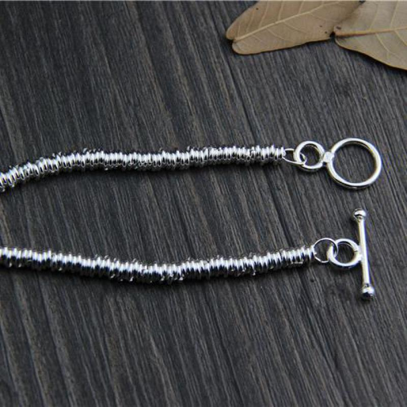 Image 4 - Real Pure 925 Sterling Silver Handmade Bracelet For Women Vintage