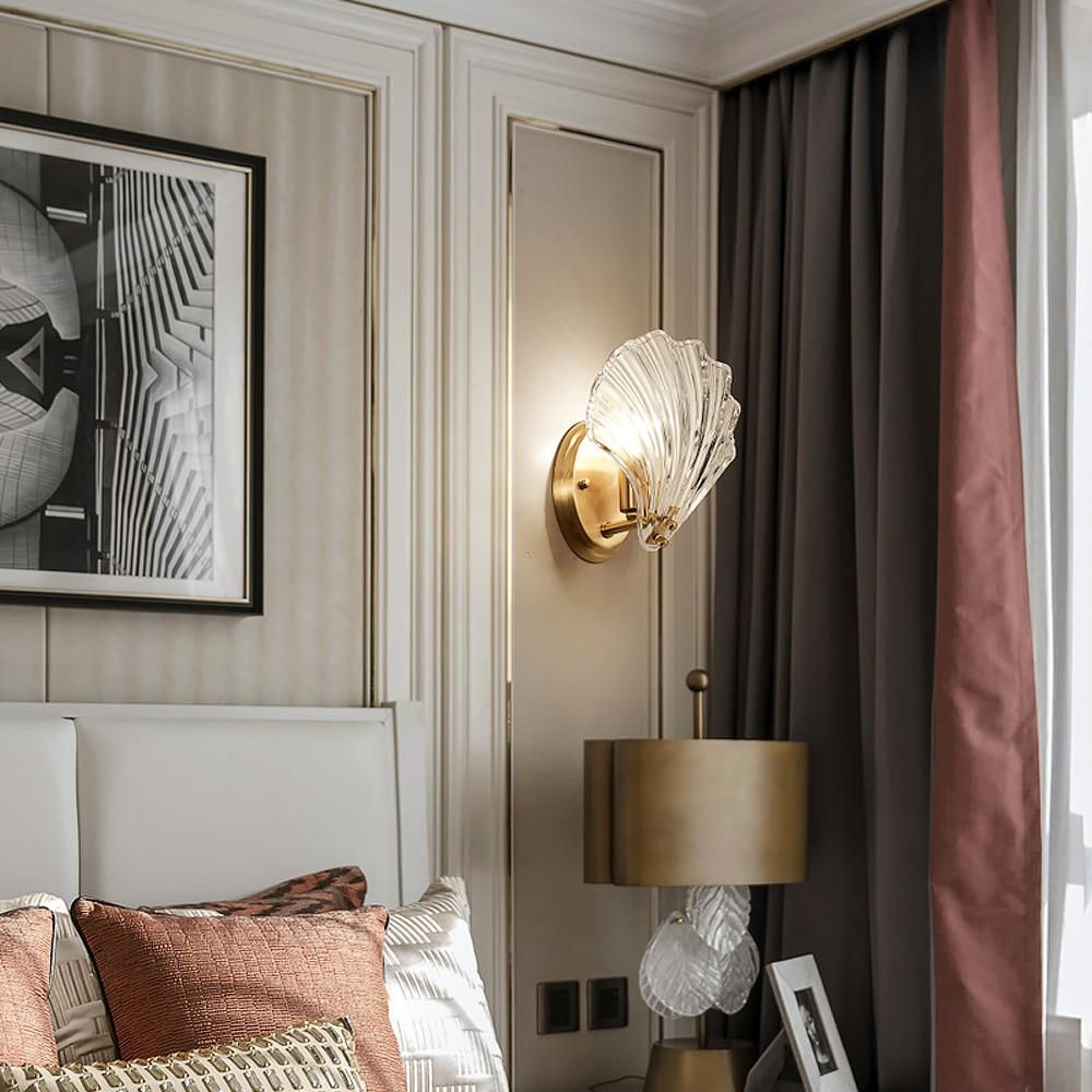 New 2019 Luxury Crystal Glass Shell Luxury Gold Wall Lamp Lights Bulbs Led Light Bedroom Living