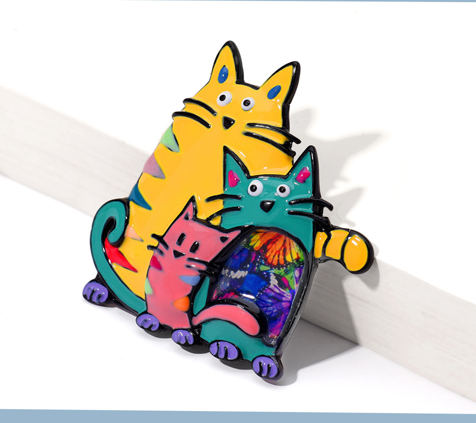 Cring Coco Vintage Cute Cats Brooches Enamel Fashion Brooch Pin Up Classical Accessories Sweater Decoration Pins Banquet Weddings Accessories