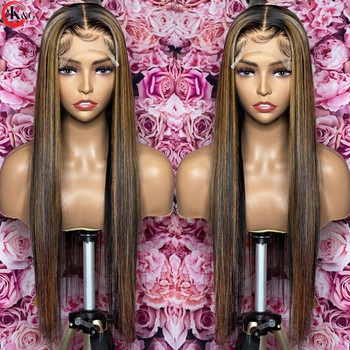 KUNGANG Highlight13*4 Lace Wigs Straight Human Hair Wigs Brazilian Front Wigs 150% Density With Baby Hair Non-Remy 5