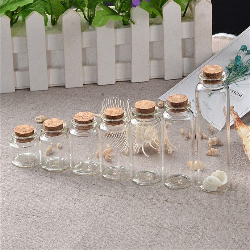 20 PCS 6//7//10//14ml Small Transparent Empty Bottles With Cork lids Glass Vials
