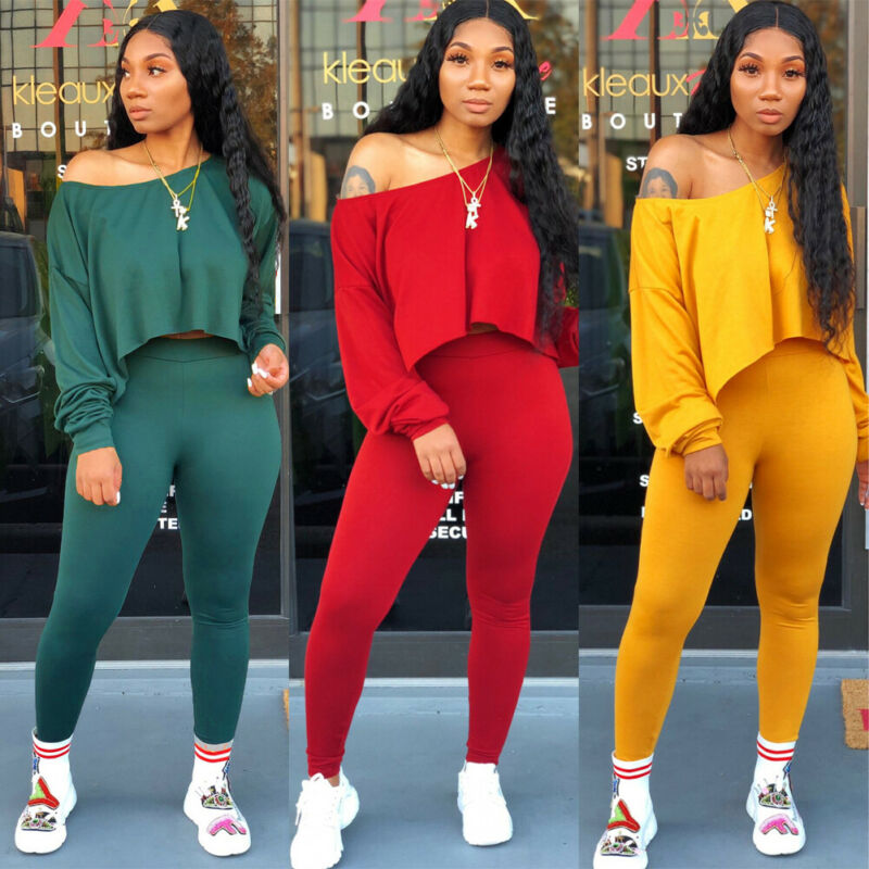 Autumn Casual Two Piece Pants Set Women Clothes Ladies Off Shoulder Long Sleeve Top+Leggings Pant Two-Piece Outfit