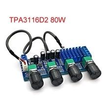 80W*2 TPA3116 Stereo Audio Digital Amplifier Board TPA3116D2 Speaker Bass Mediant Tweeter Tone Adjustment Board DC12 24V 5A