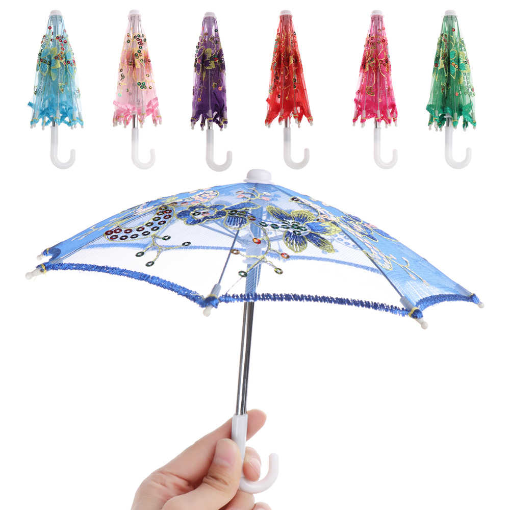 1PC New Lace Umbrella Kids Mini Embroidered Umbrellas For Handmade Doll Plastic Doll Girls Toy Gifts Doll Accessories