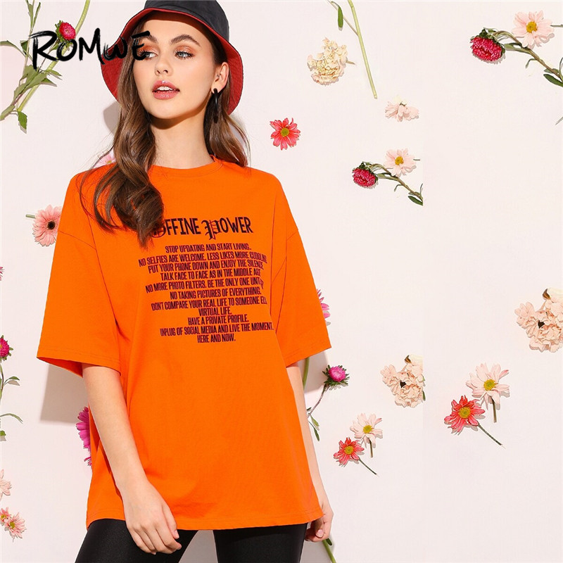ROMWE Leisure Drop Shoulder Slogan T Shirt Women Half Sleeve Black Tshirt Long Tops Summer Casual Round Neck Women Clothing