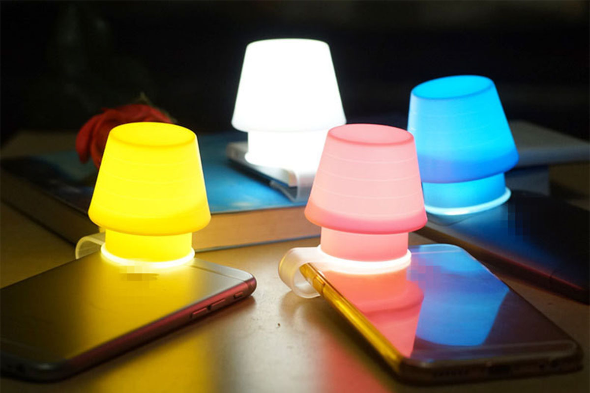 Creative Gift Silicone Mobile Phone Bracket Table Night Light Lampshade Multi-function Bookmark Bedroom Bedside LED Small Light