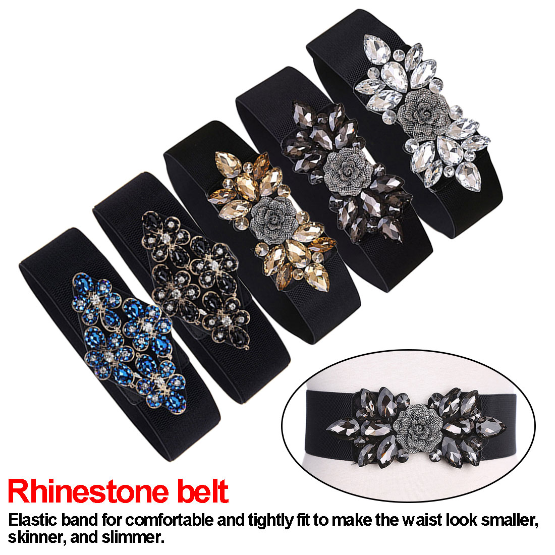Women Belts Luxury Brand Wide Floral Rhinestone Belt Buckles Stretchy Colorful Floral  Elastic Waist Belt Waistband For Ladies