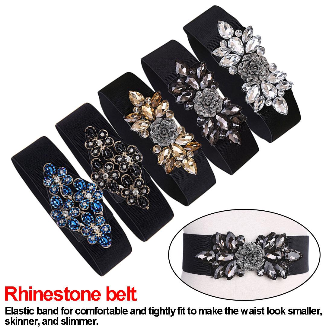 Women Elegant Rhinestone Belts For Women Waistband Ladies For Dress Vintage Female Belt Blue Crystal Gem Belts& Cummerbunds