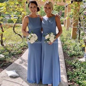 2020 простые пыльно-синие платья подружек невесты с драгоценным вырезом, длинное платье для свадебной вечеринки, недорогие платья Vestidos De Damas De Honra