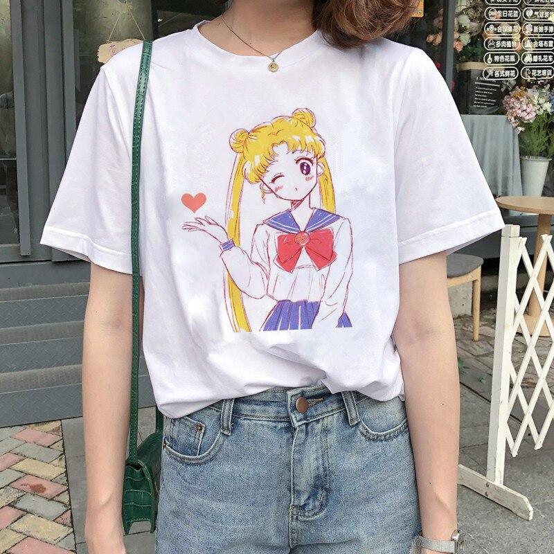 Kawaii Sailor Moon T Shirt Women Harajuku Ullzang Cartoon T-shirt 90s Cute Printed Tshirt Grunge Korean Style Top Tees Female