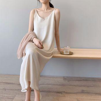 Baggy Sleeveless Satin Long Dress