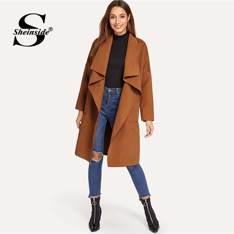 Sheinside Brown休閒瀑布式立領大衣新到貨女士Sheinside系列