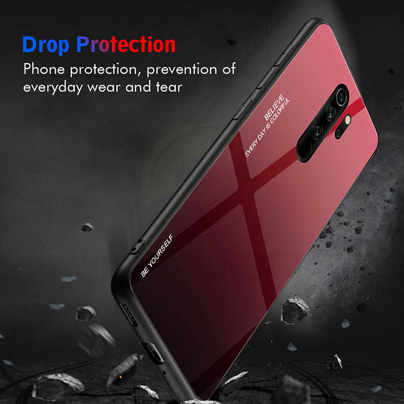 Image 2 - Tempered Glass Case For Xiaomi Redmi Note 8 Pro Case Luxury Gradient Hard Cover Soft Silicon Frame Bumper For Redmi Note 8 Cover-in Fitted Cases from Cellphones & Telecommunications