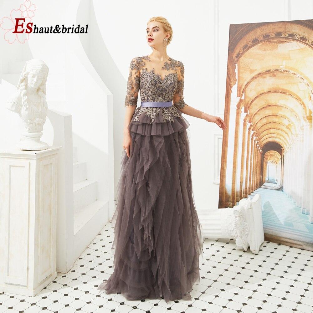 2019 Vintage Aline mère de mariée robe de soirée manches courtes dentelle Applique grande taille Tuttle mariée formelle robes de soirée