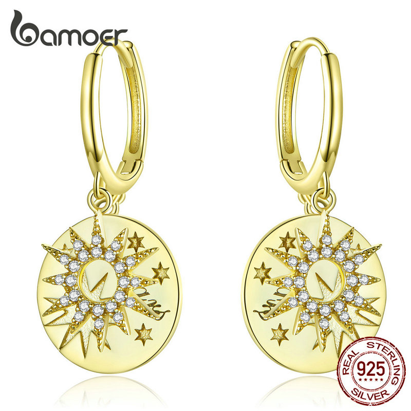 bamoer Golden Stars Round Dangle Earrings with Charm Genuine 925 Sterling Silver Wedding Statement Luxury Jewelry BSE260(China)