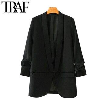 TRAF Women Fashion Office Wear Basic Black Blazer Coat Vintage Pleated Sleeve Pockets Female Outerwear Chic Tops