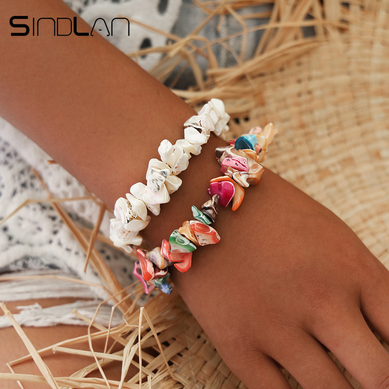 Sindlan Bohemia Colorful Ocean Shell Bracelets for Women Irregular Natural Stone Bangles Elastic Boho Bracelets Set Wrist Jewel