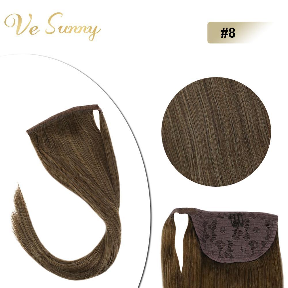 VeSunny Ponytail Extensions Wrap Around Magic Tape 100% Human Hair Straight Light Brown #6