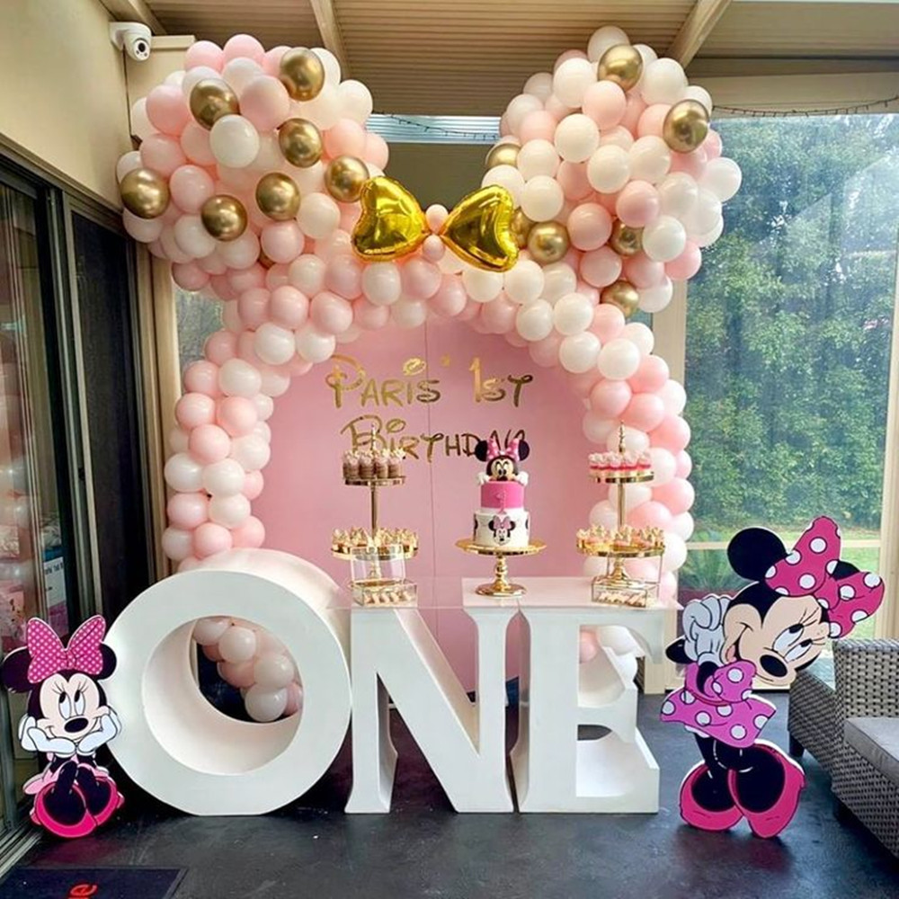 Kit de balões para meninas, kit de balões de látex-branco e ouro, balões de decoração para festa de casamento, aniversário e chá de bebê da minnie com 122 peças suprimentos