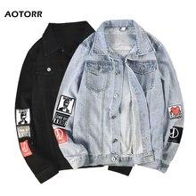 Men Denim Jacket 2020 Autumn New Men's Stand Collar Jean Jackets Letter Printed Male Casual Street Hip Hop Loose Denim Outerwear