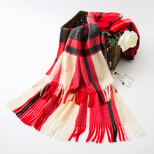 лучшая цена 2019 Real Sale Winter Hijab And The Grid Big Imitation Cashmere 300 Grams Of Woven Yarn Dyed Warm Fringed Shawl Wholesale Men