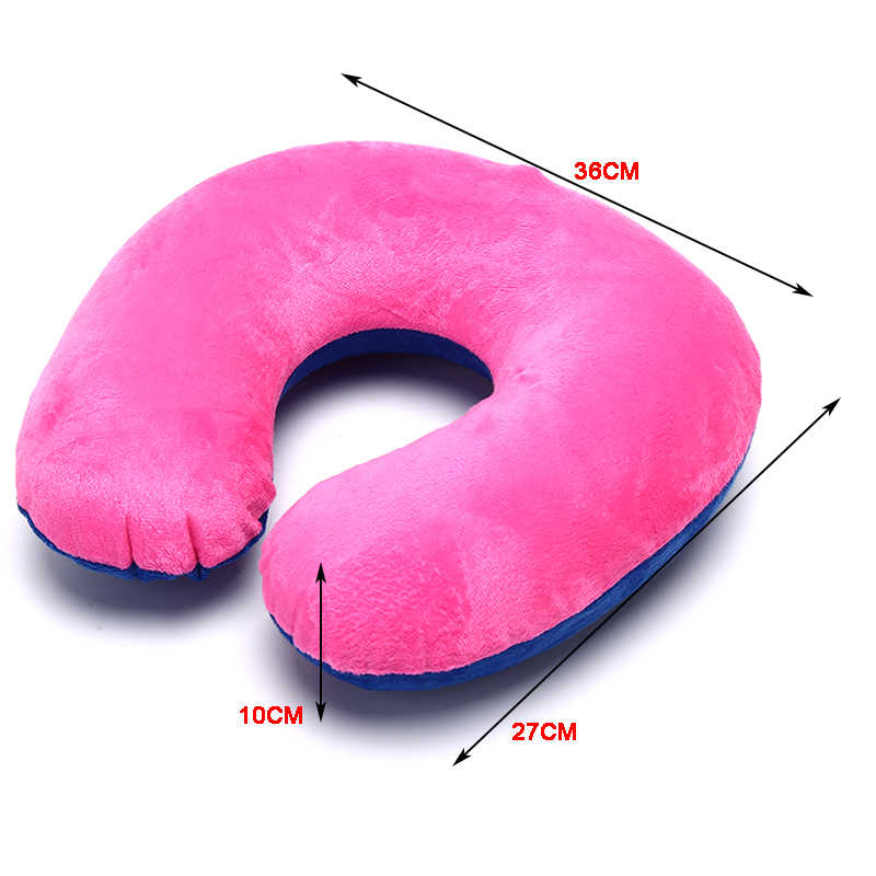 1 unidad de PVC en forma de U suave almohada inflable de viaje para el cuello para el reposacabezas del coche cojín de aire de viaje Avión de oficina en casa, durmiendo