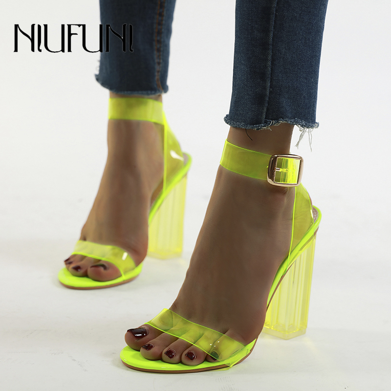 Plus Size 35-42 Transparent Crystal Fluorescence Women's Sandals Buckle Square Heel High Heels Sexy NIUFUNI 2020 Women's Shoes