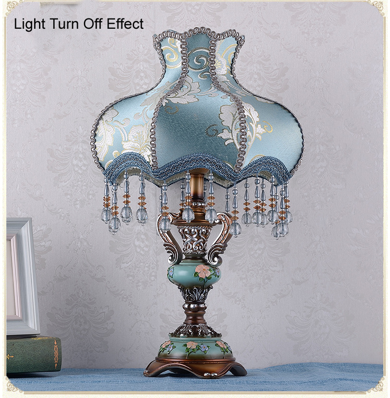 Luxury Resin Table Lamp Crystal Tassel Fabric Shade bedroom Desk Lighting Bedside Lamp E27 Book Reading Table Lamp Fixture D39