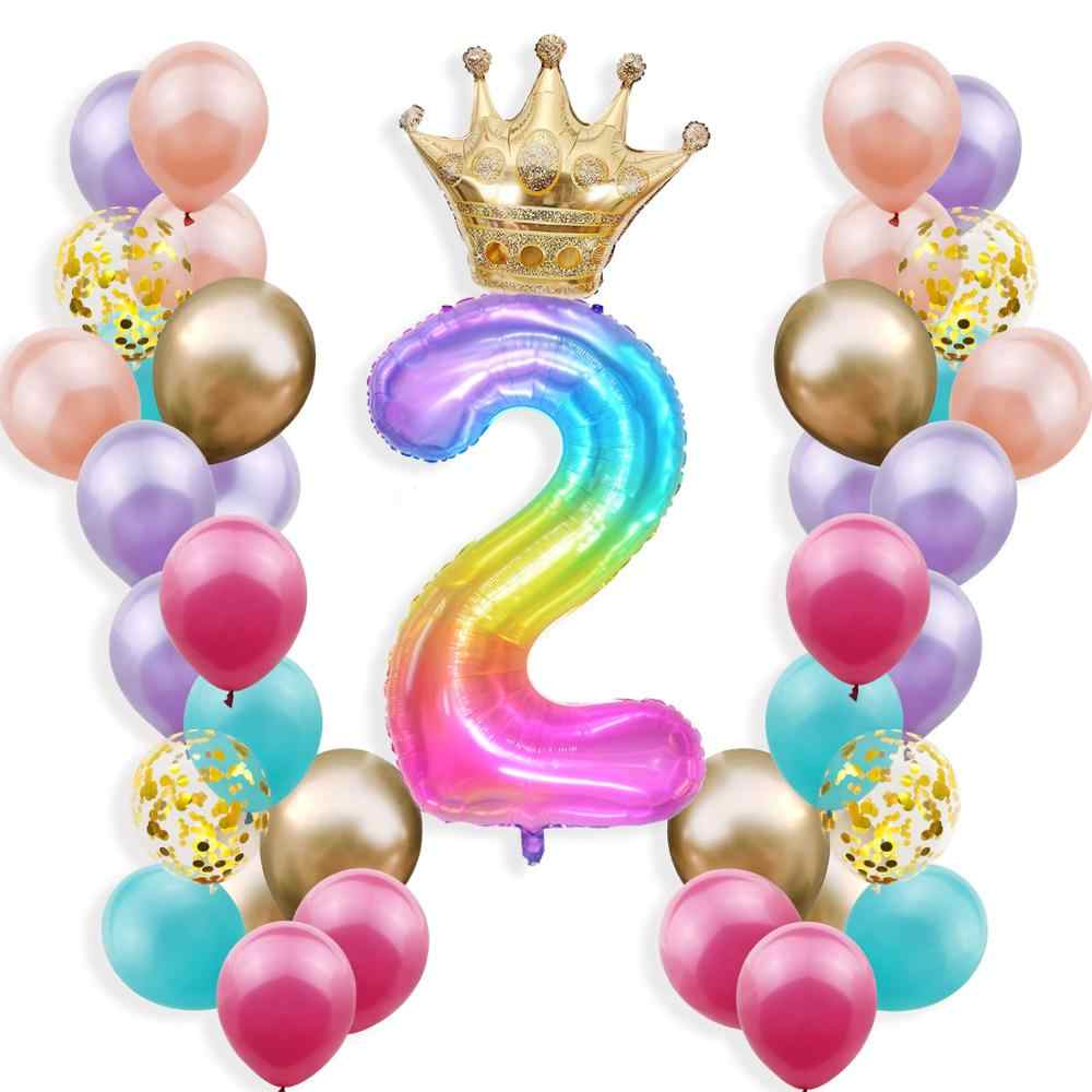 12inch Pink Gold Latex Balloons 40inch Number Balloons Happy Birthday Party Ballon 1th Birthday Party Decoration Baby Shower