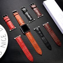 цена на Strap for Apple watch band 38mm 42mm Genuine Leather watchband correa iwatch band 44mm 40mm series 5 4 3 2 1 bracelet wrist belt