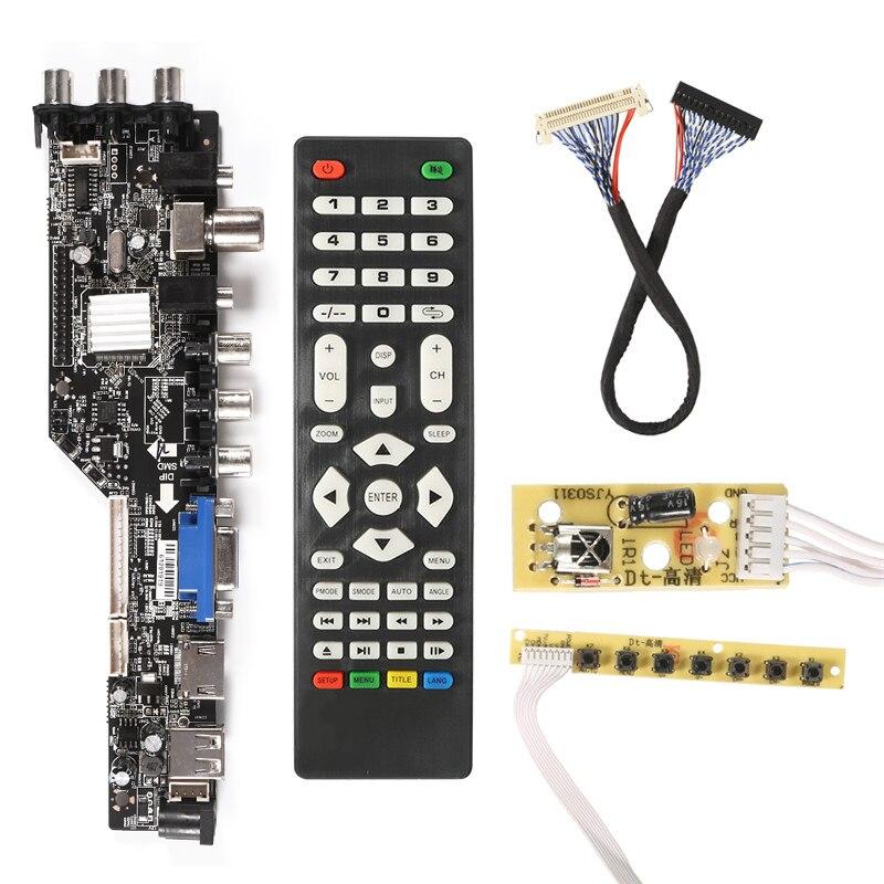 Nouveau 3663 numérique TV Signal DVB-T2/T/C universel LCD TV contrôleur carte pilote + 7 touche bouton + 2Ch 30pin russe moniteur Refit Kit