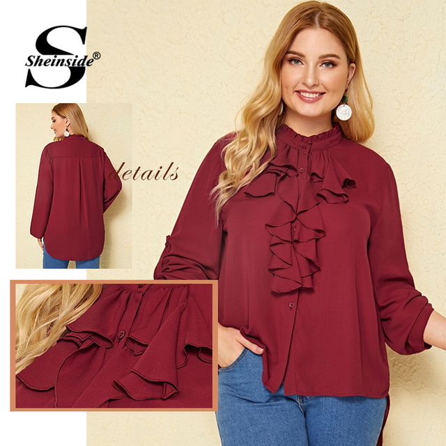 Sheinside Plus Size Casual Roll Up Sleeve Blouse Women 2019 Autumn Ruffle Trim Button Up Blouses Ladies Solid Stand Collar Top 5
