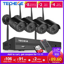 Techege 1080 720pワイヤレスcctvセキュリティカメラシステムキットオーディオ録音8CH nvr wifi屋外ビデオ監視システム