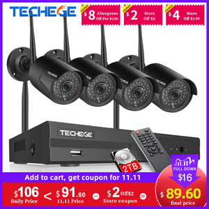 Image 1 - Techege 1080 720pワイヤレスcctvセキュリティカメラシステムキットオーディオ録音8CH nvr wifi屋外ビデオ監視システム