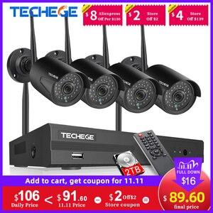 Image 1 - Techege 1080P אלחוטי אבטחת CCTV המצלמה מערכת ערכות אודיו שיא 8CH NVR WiFi חיצוני וידאו בית מעקב מערכת