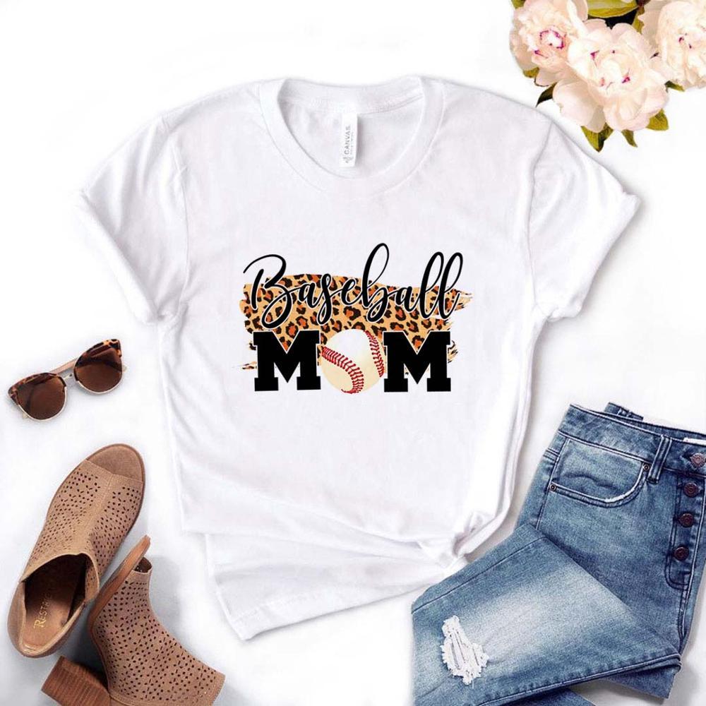 Baseball Mom Leopard Print Women Tshirt Cotton Casual Funny T Shirt Gift For Lady Yong Girl Top Tee Drop Ship PM-3