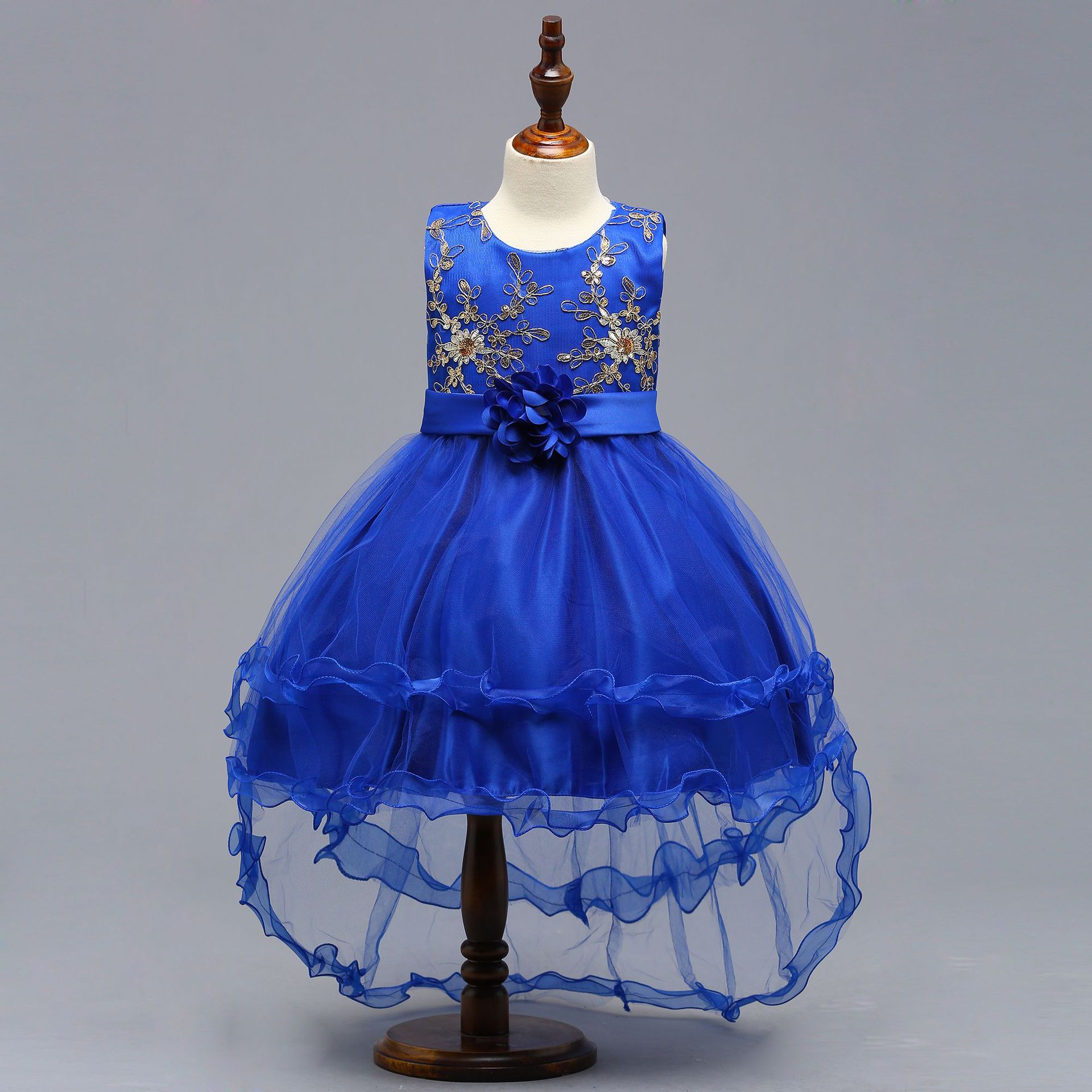 Europe And America Childrenswear New Style Children Catwalks Tailing Formal Dress Flower Princess Dress Sequin Embroidery Flower