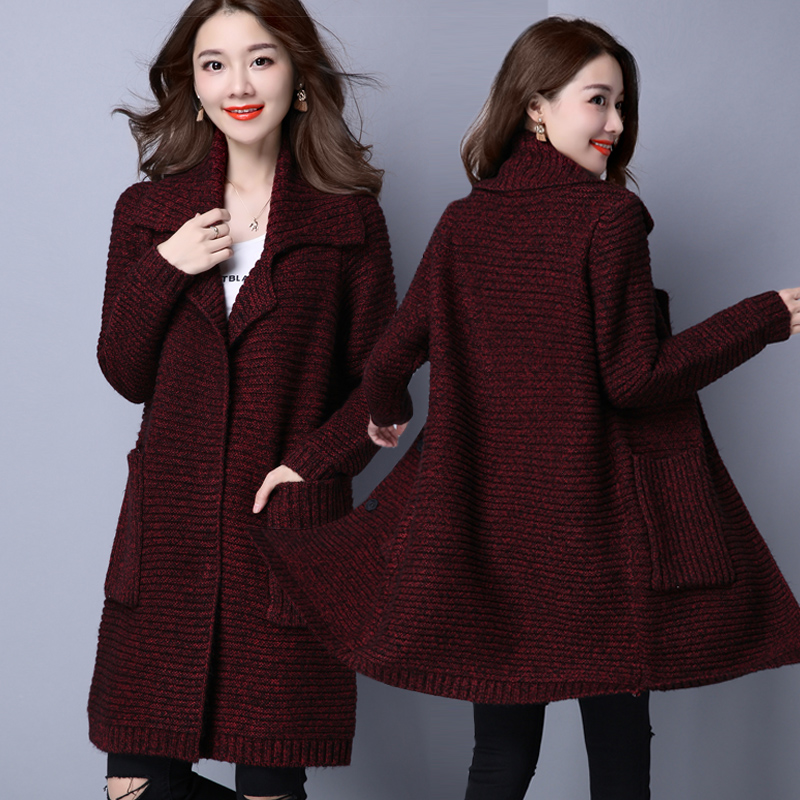 Women's Sweater Coat Women's Long Section Cardigan Thick Line Autumn Loose Autumn New Knitting Large Size Women's Sweater Coat