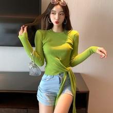 Fashion Bow Long-sleeved Sweater Slim O-neck Women Knitting Shirt Tops Female Sweaters